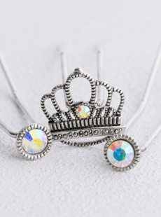 UP-2047-L Princess Crown U-Pins, Set of 3