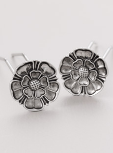 UP-2993-L  Tudor Rose Upins, Nickel, Long
