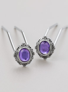 UP-2995-L  Violet Upins, Nickel, Long