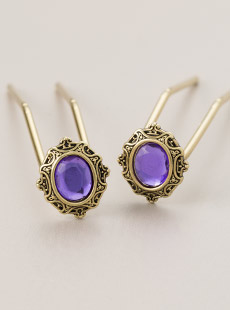 UP-2996-L  Violet U-Pins, Brass, Long
