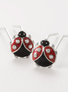 UP-3017-L  Lady Bug U-Pins, Nickel, Long